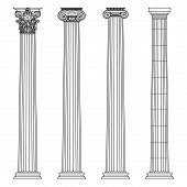 A set of antique Greek and historical columns with Ionic, Doric and Corinthian capitals. Vector line illustration. poster