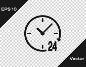 Grey Clock 24 hours icon isolated on transparent background. All day cyclic icon. 24 hours service symbol. Vector Illustration poster