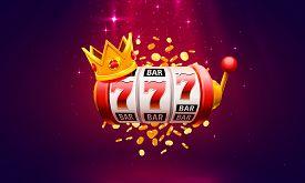 Casino 777 Slot, Label Winner Banner Signboard. Vector