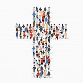 Large Group Of People In Form Of Christian Cross.