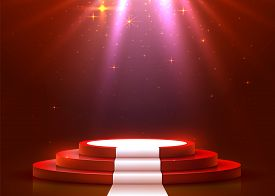 Abstract Round Podium With White Carpet Illuminated With Spotlight. Award Ceremony Concept. Stage Ba