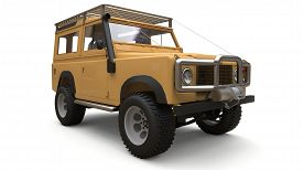 Beige Old Small Suv Tuned For Difficult Routes And Expeditions. 3d Rendering.