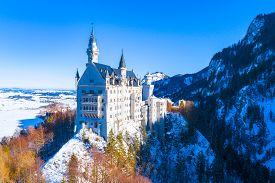 Beautiful View Of World-famous Neuschwanstein Castle, The Nineteenth-century Romanesque Revival Pala