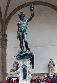 Florence,tuscany/ Italy - April 11, 2018: People Looking At Perseus Holding Head Of Medusa In Loggia