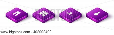 Set Isometric Pants, Short Or Pants, Man Hat And Woman Dress Icon. Vector