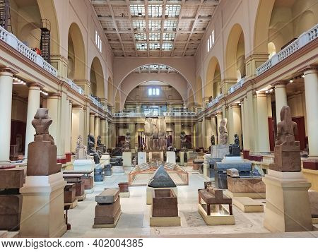Cairo, Egypt - 24 October 2020 : Wide Angle Interior View Of Egyptian Museum In Cairo