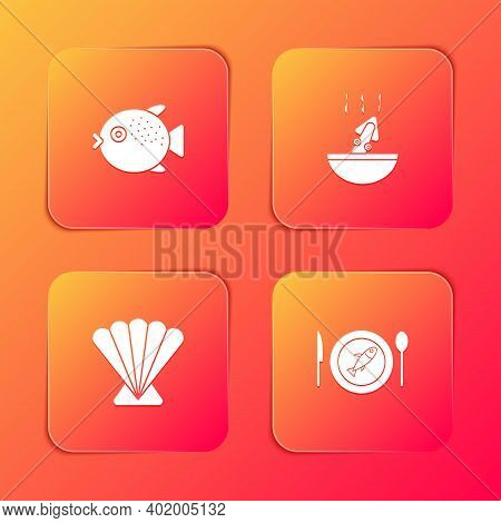 Set Puffer Fish, Soup With Octopus, Scallop Sea Shell And Served On Plate Icon. Vector