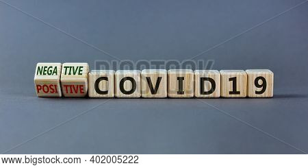 Test Result Of A Corona Test. Turned Cubes And Changed Words 'positive Covid19' To 'negative Covid19