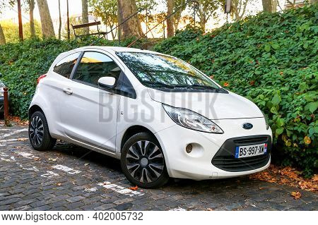 Versailles, France - September 15, 2019: White Compact Car Ford Ka In The City Street.