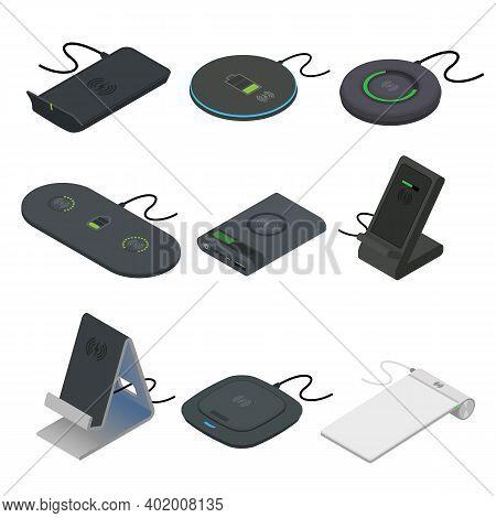 Wireless Charger Icons Set. Isometric Set Of Wireless Charger Vector Icons For Web Design Isolated O