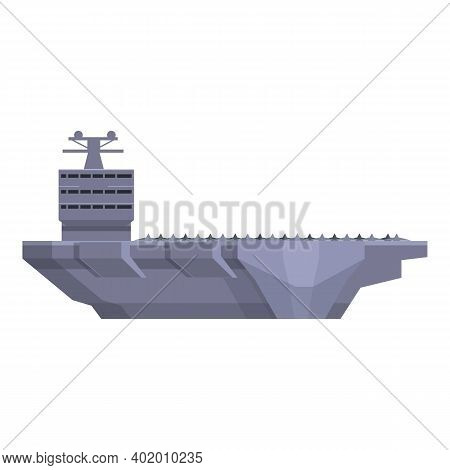 Aircraft Carrier Ship Icon. Cartoon Of Aircraft Carrier Ship Vector Icon For Web Design Isolated On