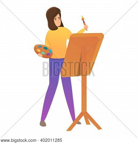 Girl Painter Icon. Cartoon Of Girl Painter Vector Icon For Web Design Isolated On White Background