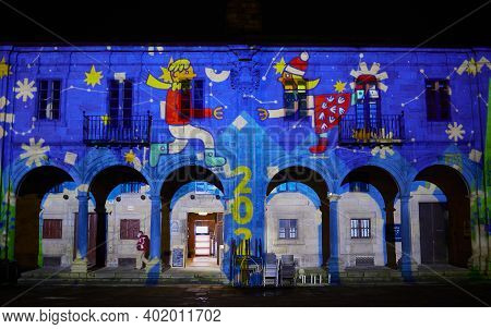 Santiago De Compostela (spain), January 5, 2021. Light Projection In The Plaza De La Quintana. 2021
