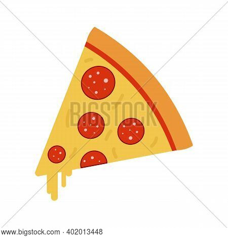 Flat Isolated Slice Of Pepperoni Pizza For Web Design.