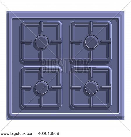 Grill Burning Gas Stove Icon. Cartoon Of Grill Burning Gas Stove Vector Icon For Web Design Isolated