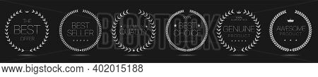 Silver Laurel Wreath Labels. Best Offer, Best Seller, Premium Quality, Genuine Product, Awesome Prod