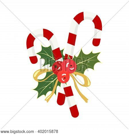 Two Candy Canes With Holly Tied With A Ribbon. White Red Striped Sweet Candy. Holly Leaves And Berri