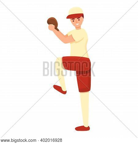 Playing Position Baseball Player Icon. Cartoon Of Playing Position Baseball Player Vector Icon For W