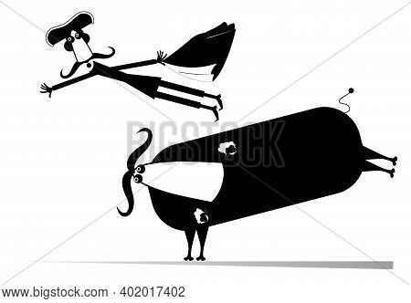 Cartoon Bullfighter And A Bull Isolated Illustration. Funny Long Mustache Bullfighter Falls From The
