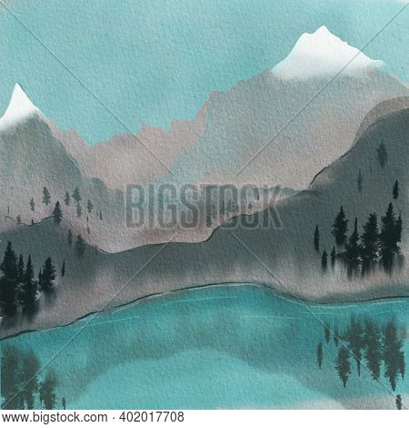 Landscape With A Mountain Lake. Snow-capped Peaks, Fir Trees And Water Surface. Hand Drawn Watercolo