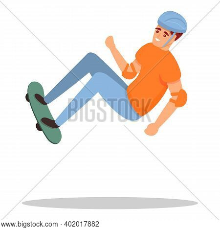 Skateboarding Trick Icon. Cartoon Of Skateboarding Trick Vector Icon For Web Design Isolated On Whit