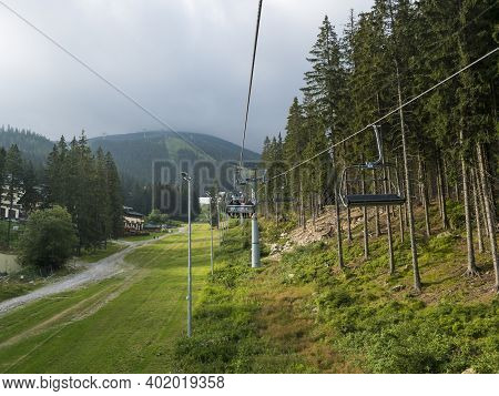 Demanovska Dolina, Jasna, Slovakia August 29, 2020: Ski Lift Chair In Resort Jasna In Low Tatras Mou