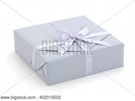 Gray Gift Box With Gray Ribbon Isolated On White Color Background.