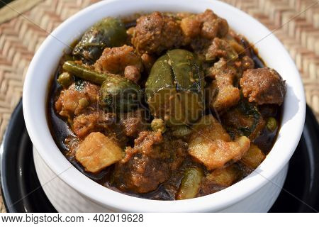 Close Up Of Undhiyu Or Oondhiyu With Different Indian Vegetables Home Cooked During Winter Season Fo