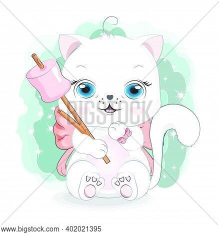 Happy White Cat Girl, Kitten With Bow, Marshmallows On Stick, Picture In Hand Drawing Cartoon Style,
