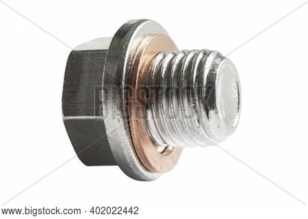 Red Copper Washer On Steel Screw Bolt Isolated On White Background. Macro Shot Metal Bolt Isolated W