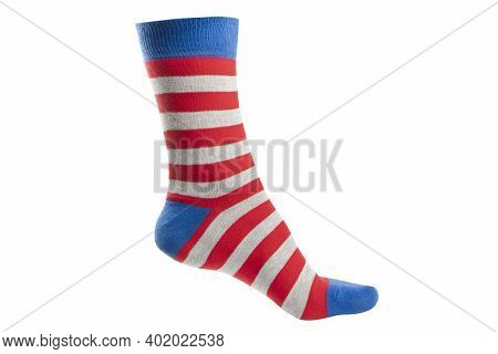 One Volumetric Sock With Different Lines Isolated On White Background. Colorful Volumetric Sock Son
