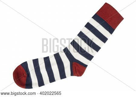One Sock With Different Lines Isolated On White Background. Colorful Sock Son White Background. Colo