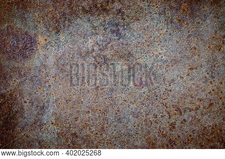 Background From Rusty Sheet Metal. High Quality Grunge Rusty Old And Dirty Metal Plate. Iron Surface