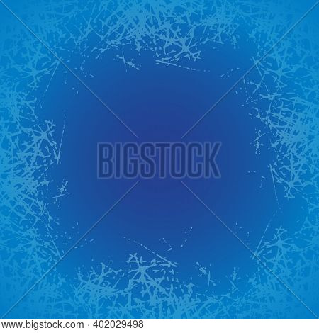 Ice Crystals Design Texture On Freeze Window. Frame With Frosted Patterns. Blue Winter Holiday Backg