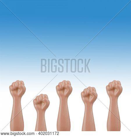 Raised fists revolt rebels conceptual symbol for resistance fight strike people