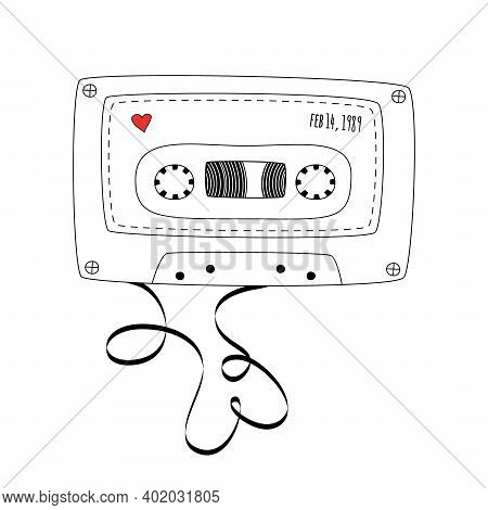 Retro Compact Tape Cassette. Vintage Audio Cassette Tape In Doodle Style Isolated On A White Backgro