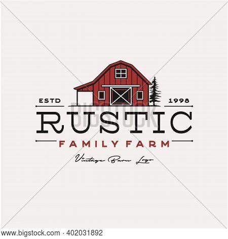 Vintage Retro Rustic Barn Farm Logo Design Illustration