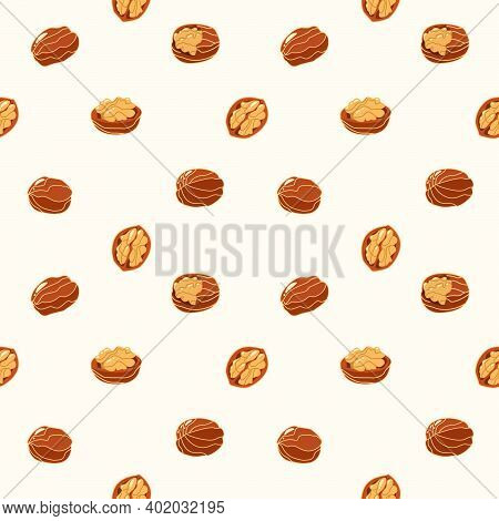 Seamless Pattern With Walnuts And Nutshells In Cartoon Style. Background With Natural Vegetarian And