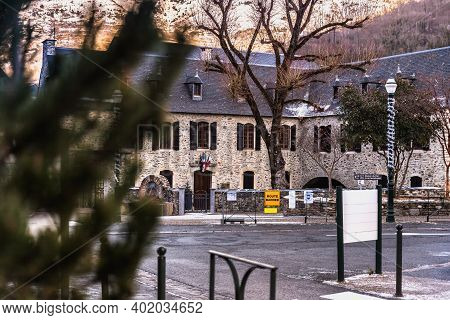 Saint Lary Soulan, France - December 26, 2020: Architectural Detail Of The Town Hall In The Historic