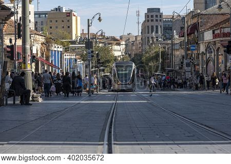 Jerusalem, Israel, 13.11.2020. Tramway In The City Center, New Technology Transportation With Pedest