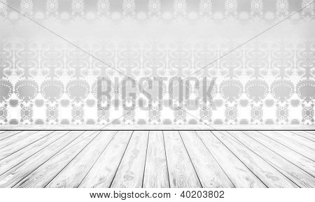 Empty Interior With Silver Damask