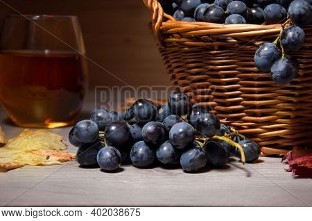 Close-up Of A Ripe Bunch Of Varietal Blue Grapes. Harvest Grapes In A Basket From The Table. Grape J