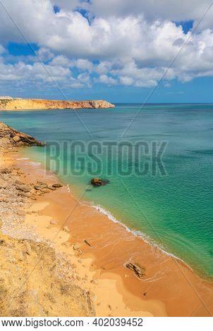 Algarve rocky coast near Sagres, fortress Fortaleza de Sagres, Portugal