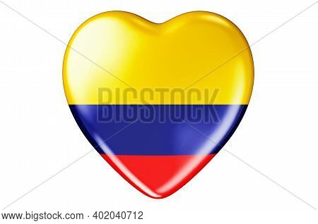 Heart With Colombian Flag, 3d Rendering Isolated On White Background