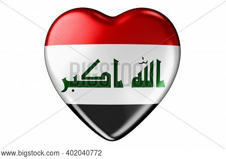 Heart With Iraqi Flag, 3d Rendering Isolated On White Background