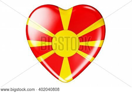 Heart With Macedonian Flag, 3d Rendering Isolated On White Background