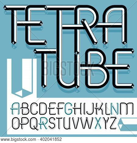 Vector Trendy Vintage Capital English Alphabet Letters Collection. Funky Font, Typescript Can Be Use