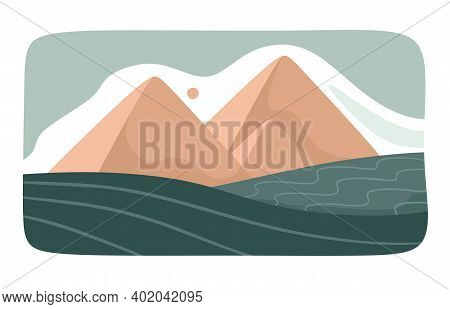 Icon With Egyptian Pyramids Cut Out Style. Abstract Landscape, Background, Pyramids, Sands. Vector