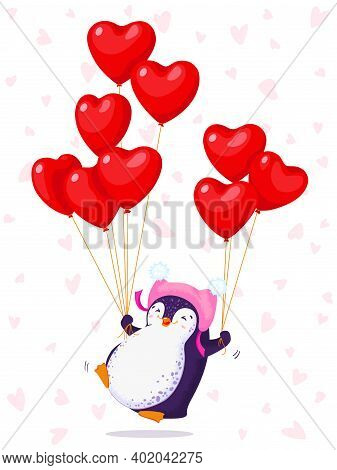 Greeting Card For Valentine Day With A Funny Jumping Penguin In A Cute Hat. Cartoon Penguin With Bal