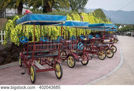Hengdian, Zhejiang/ China: Jan 21 2020: Many Bicycle For Traveler Ride Around The Hengdian's World S
